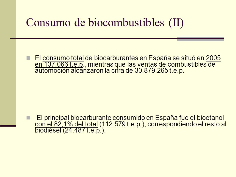 Consumo de biocombustibles (II)