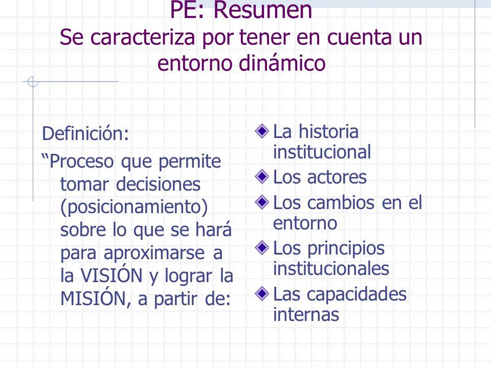 PE: Resumen Se caracteriza por tener en cuenta un entorno dinámico