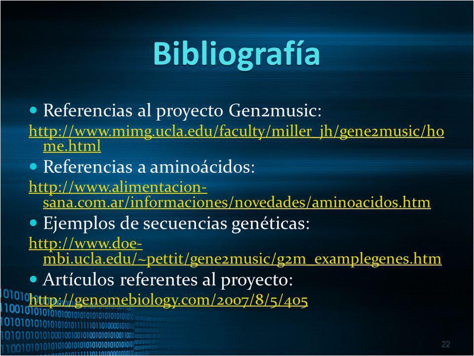 Bibliografía Referencias al proyecto Gen2music: