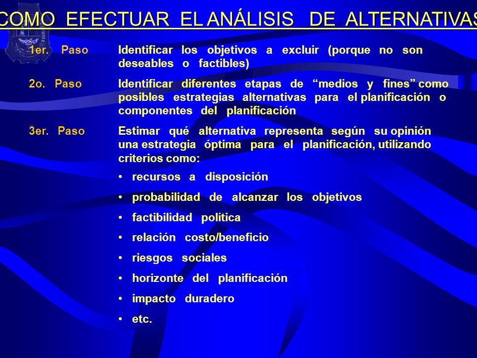 COMO EFECTUAR EL ANÁLISIS DE ALTERNATIVAS
