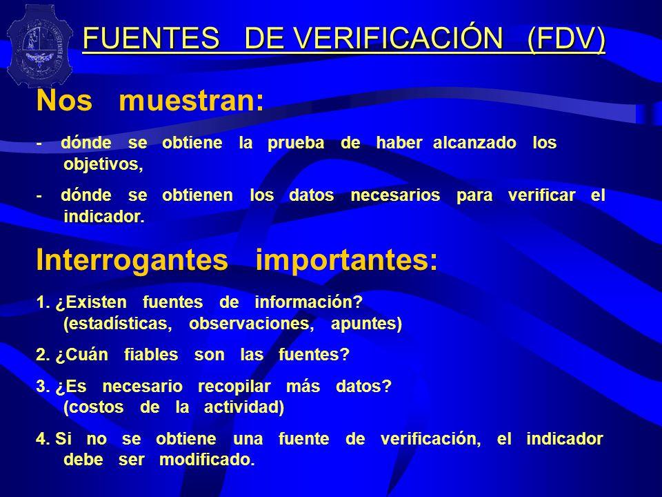 FUENTES DE VERIFICACIÓN (FDV)