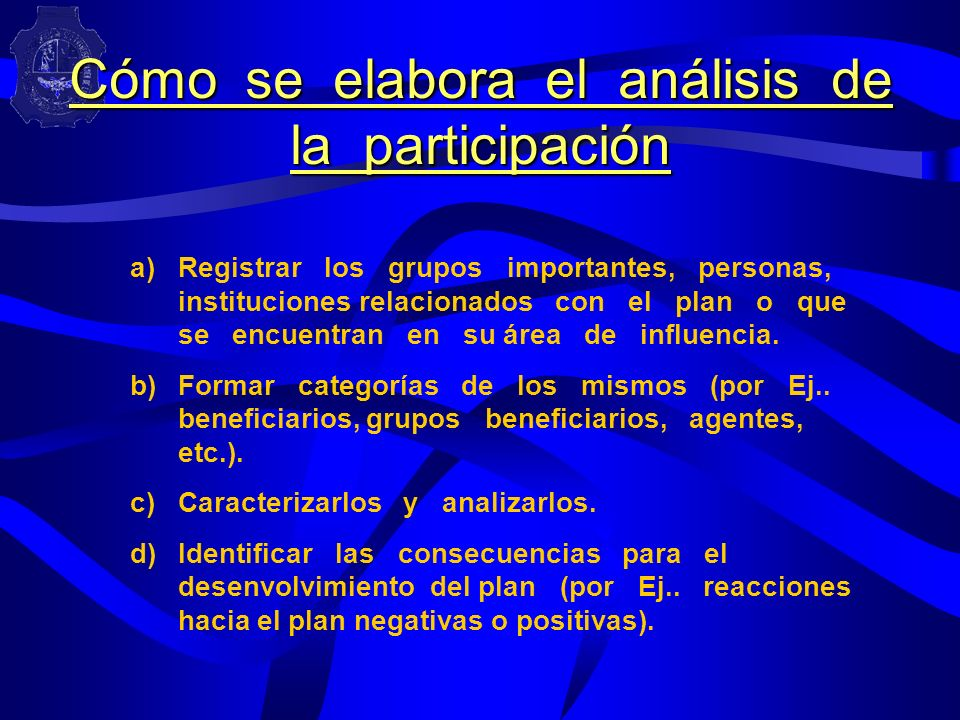 Cómo se elabora el análisis de la participación