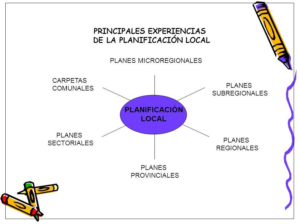 PRINCIPALES EXPERIENCIAS DE LA PLANIFICACIÓN LOCAL