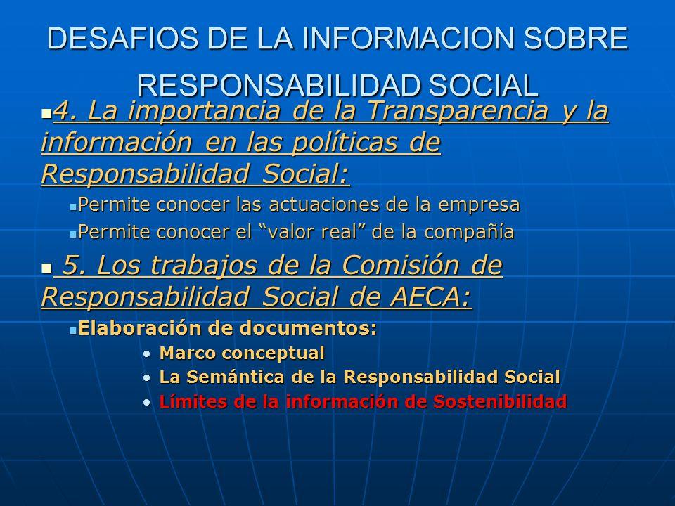DESAFIOS DE LA INFORMACION SOBRE RESPONSABILIDAD SOCIAL