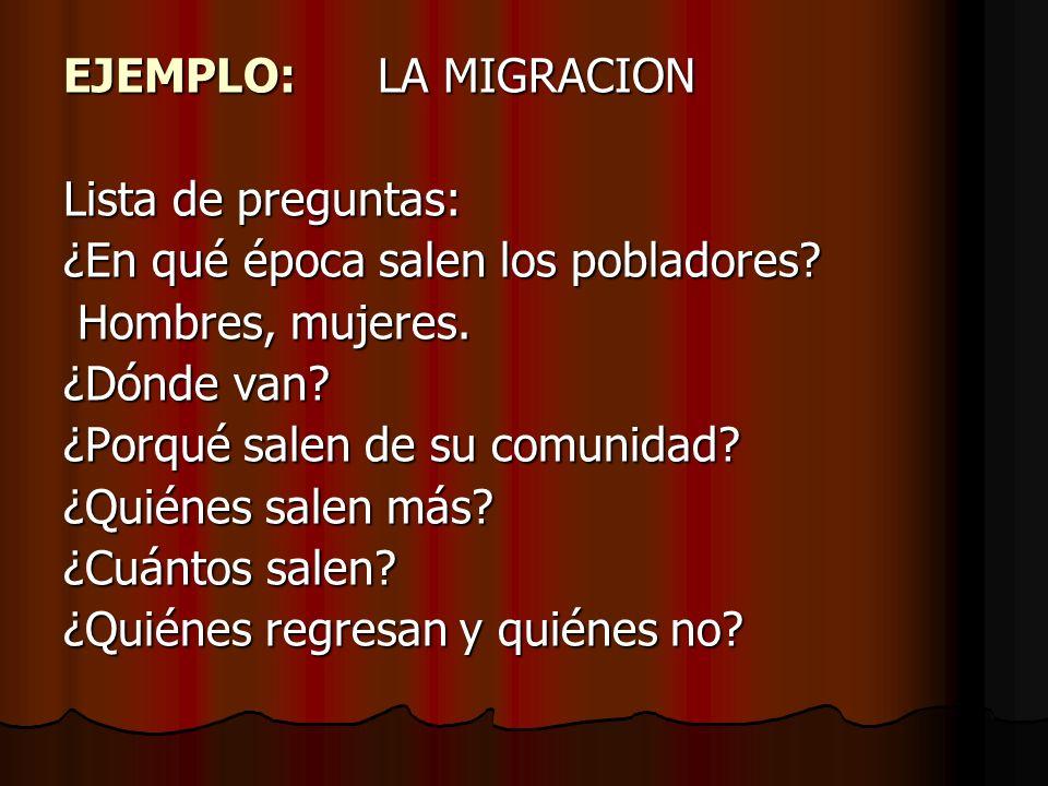 EJEMPLO: LA MIGRACION Lista de preguntas: ¿En qué época salen los pobladores Hombres, mujeres. ¿Dónde van