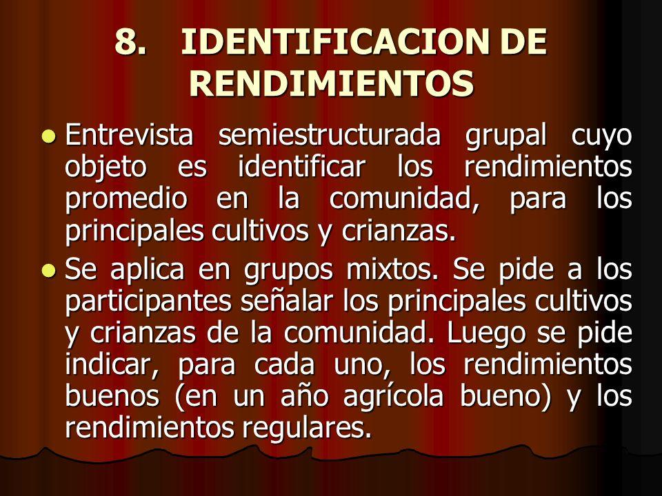 8. IDENTIFICACION DE RENDIMIENTOS