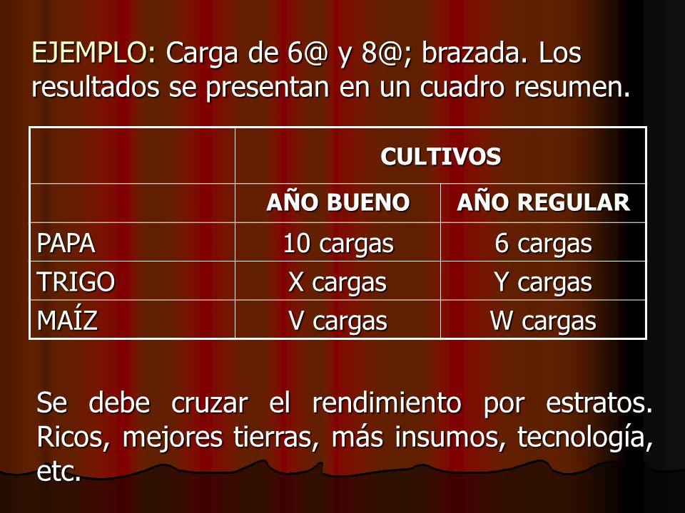 EJEMPLO: Carga de 6@ y 8@; brazada. Los