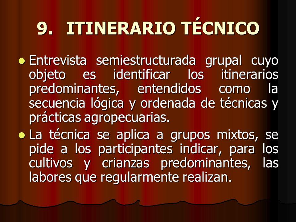 9. ITINERARIO TÉCNICO