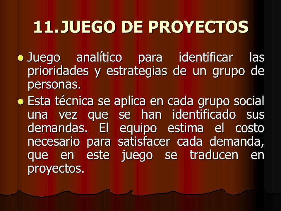 11. JUEGO DE PROYECTOS Juego analítico para identificar las prioridades y estrategias de un grupo de personas.