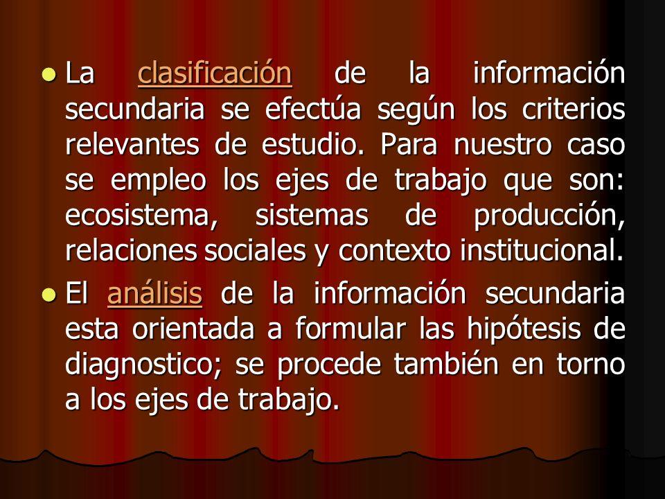 La clasificación de la información secundaria se efectúa según los criterios relevantes de estudio. Para nuestro caso se empleo los ejes de trabajo que son: ecosistema, sistemas de producción, relaciones sociales y contexto institucional.