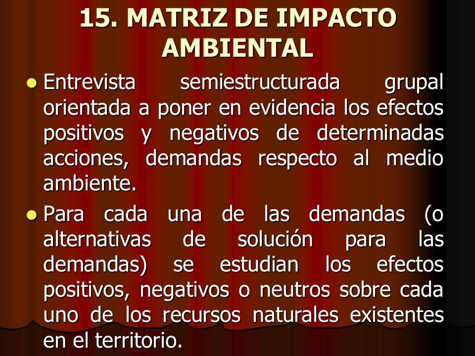 15. MATRIZ DE IMPACTO AMBIENTAL