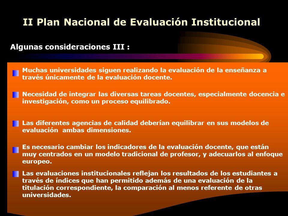 II Plan Nacional de Evaluación Institucional