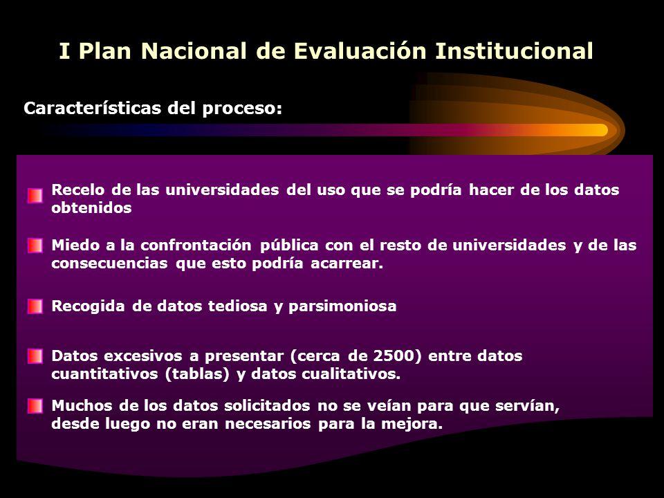 I Plan Nacional de Evaluación Institucional