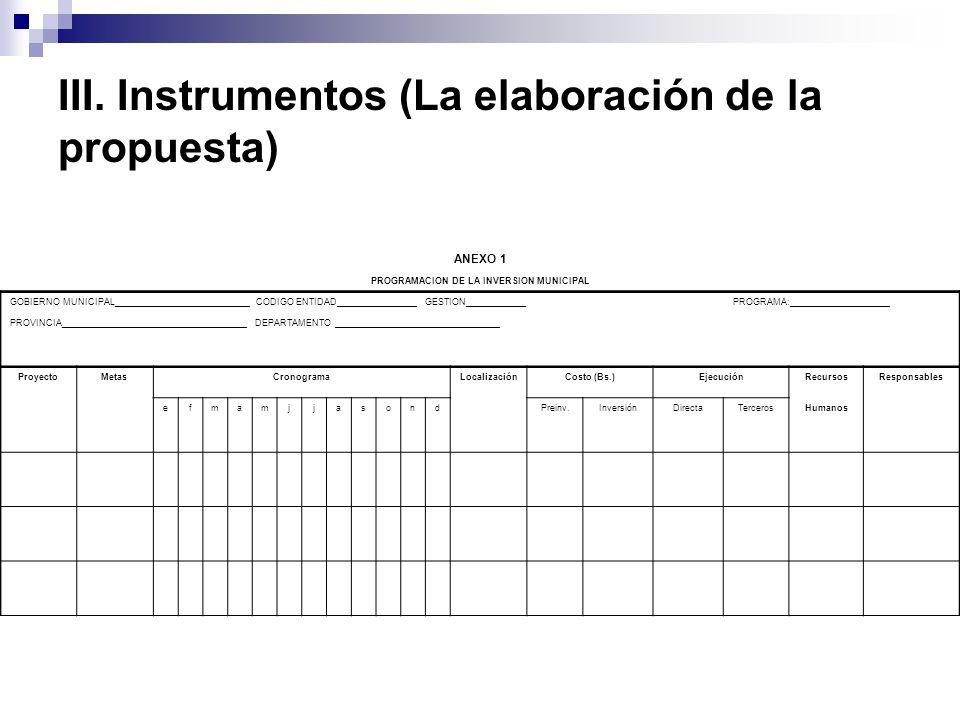 III. Instrumentos (La elaboración de la propuesta)