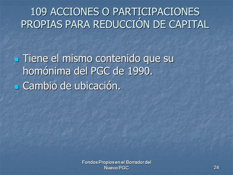 109 ACCIONES O PARTICIPACIONES PROPIAS PARA REDUCCIÓN DE CAPITAL