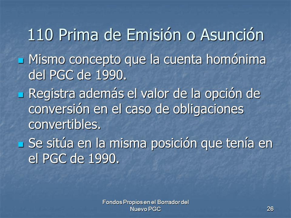 110 Prima de Emisión o Asunción