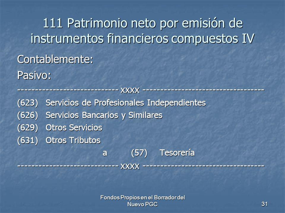 Fondos Propios en el Borrador del Nuevo PGC