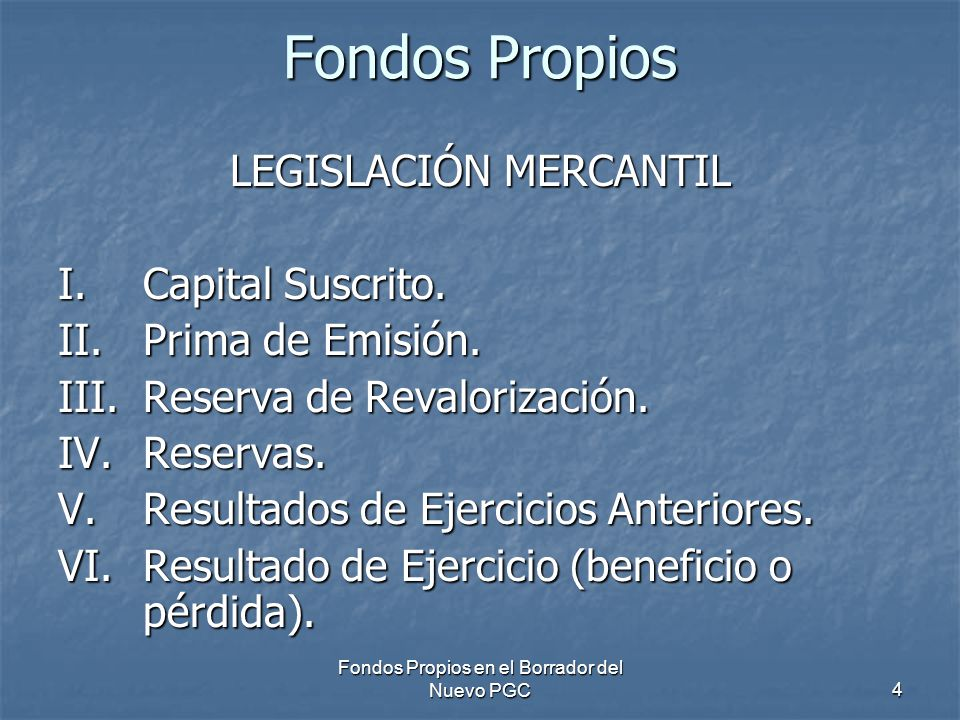 Fondos Propios LEGISLACIÓN MERCANTIL I. Capital Suscrito.