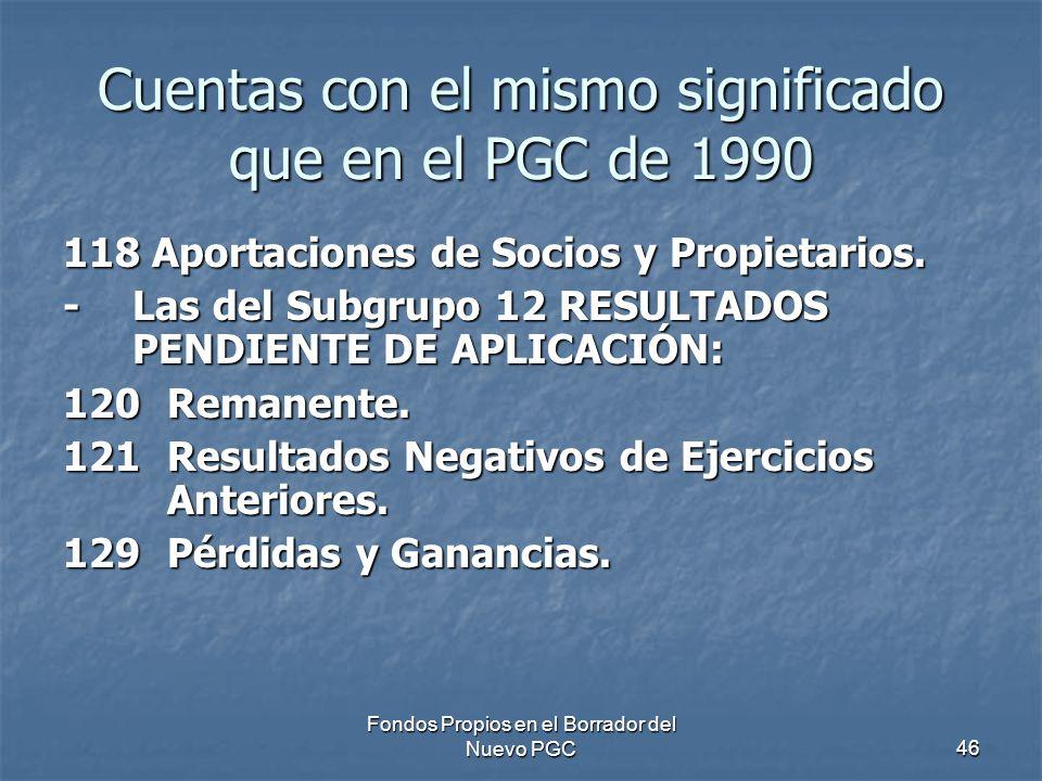Cuentas con el mismo significado que en el PGC de 1990