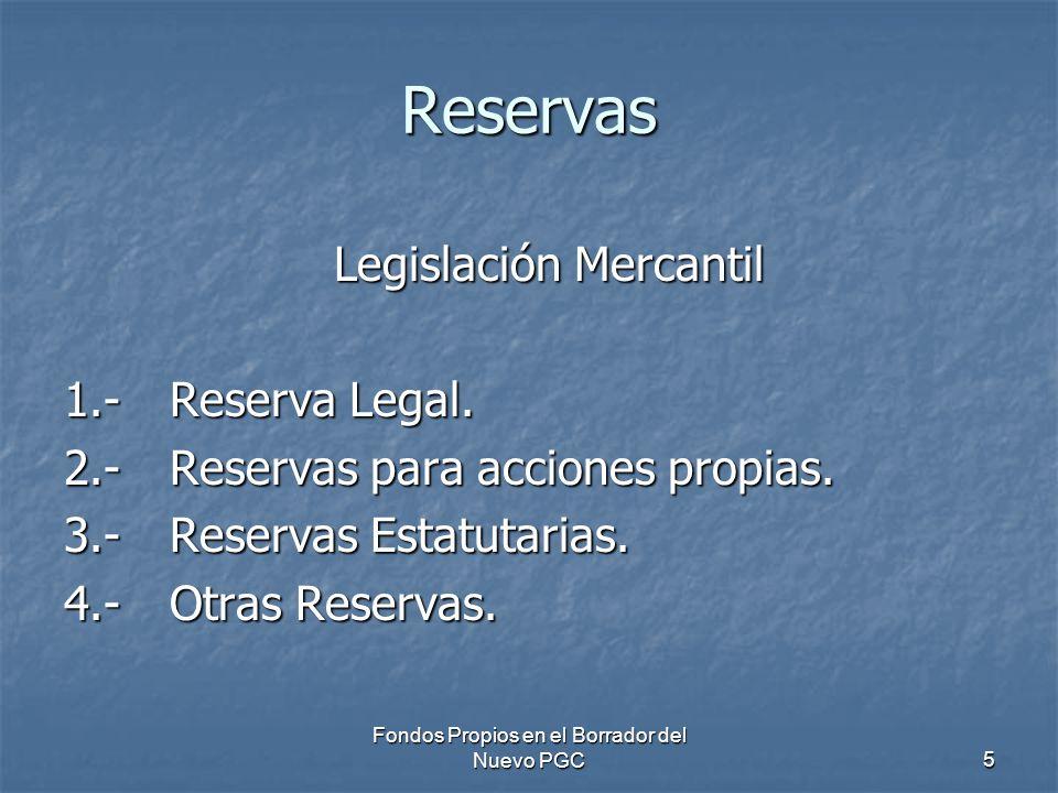 Reservas Legislación Mercantil 1.- Reserva Legal.
