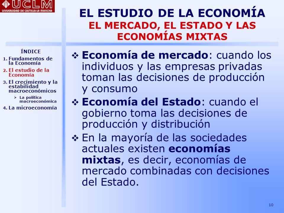 EL ESTUDIO DE LA ECONOMÍA EL MERCADO, EL ESTADO Y LAS ECONOMÍAS MIXTAS
