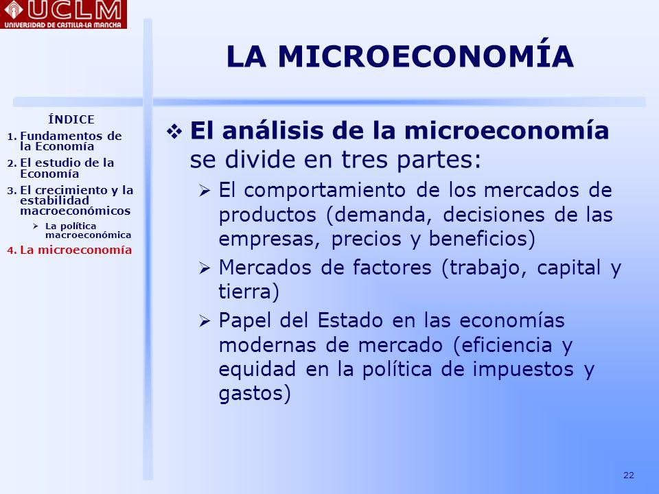 LA MICROECONOMÍA ÍNDICE. Fundamentos de la Economía. El estudio de la Economía. El crecimiento y la estabilidad macroeconómicos.