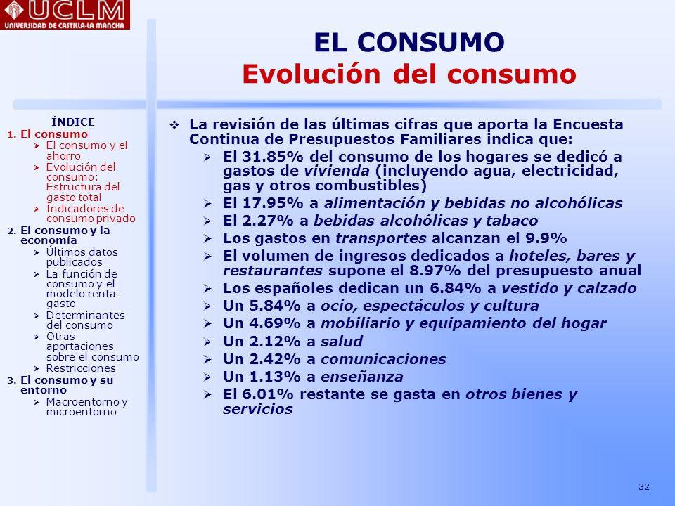 EL CONSUMO Evolución del consumo