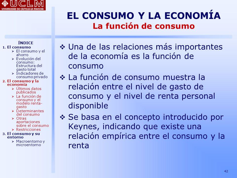 EL CONSUMO Y LA ECONOMÍA La función de consumo