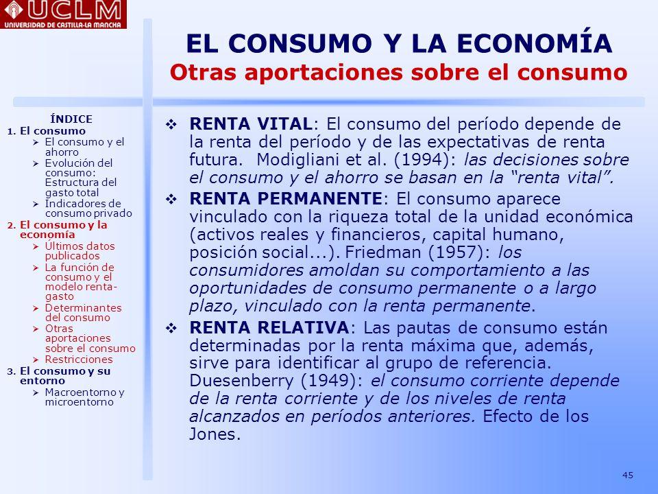 EL CONSUMO Y LA ECONOMÍA Otras aportaciones sobre el consumo