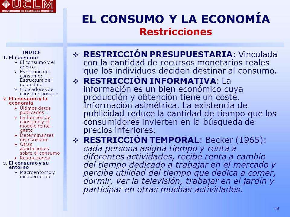 EL CONSUMO Y LA ECONOMÍA Restricciones
