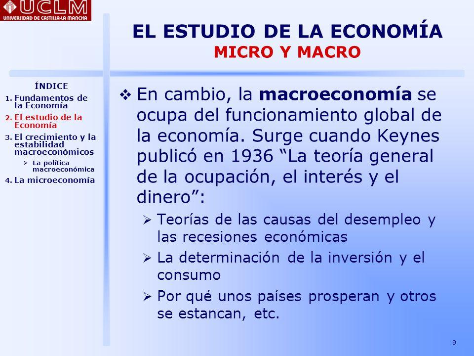 EL ESTUDIO DE LA ECONOMÍA MICRO Y MACRO