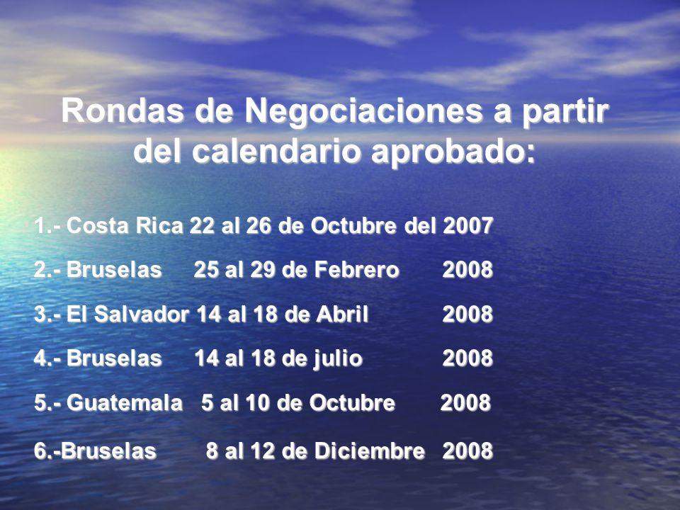 Rondas de Negociaciones a partir del calendario aprobado:
