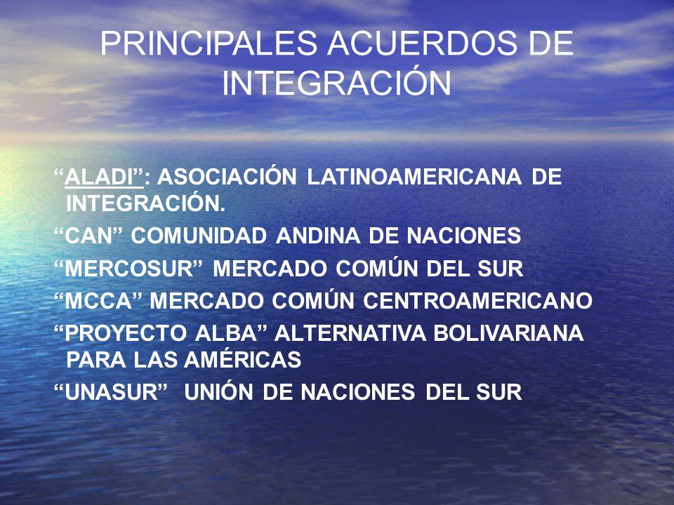 PRINCIPALES ACUERDOS DE INTEGRACIÓN