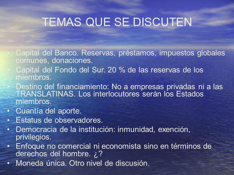 TEMAS QUE SE DISCUTEN Capital del Banco. Reservas, préstamos, impuestos globales comunes, donaciones.