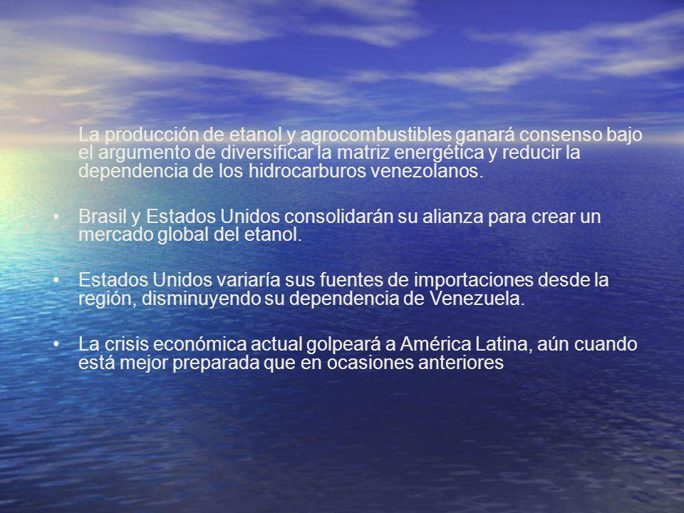 La producción de etanol y agrocombustibles ganará consenso bajo el argumento de diversificar la matriz energética y reducir la dependencia de los hidrocarburos venezolanos.