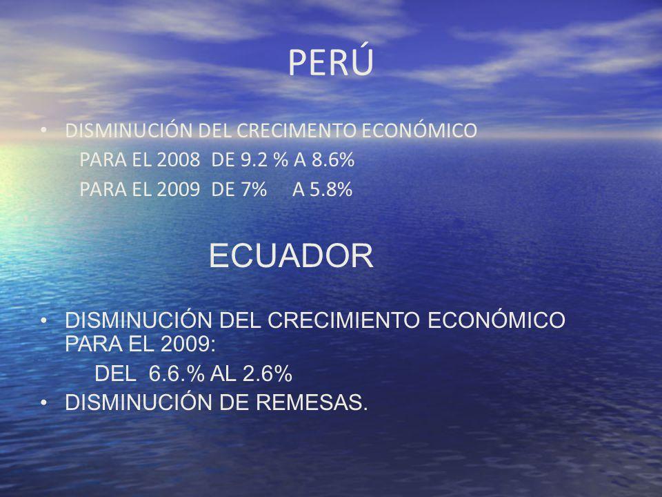 PERÚ DISMINUCIÓN DEL CRECIMENTO ECONÓMICO PARA EL 2008 DE 9.2 % A 8.6%