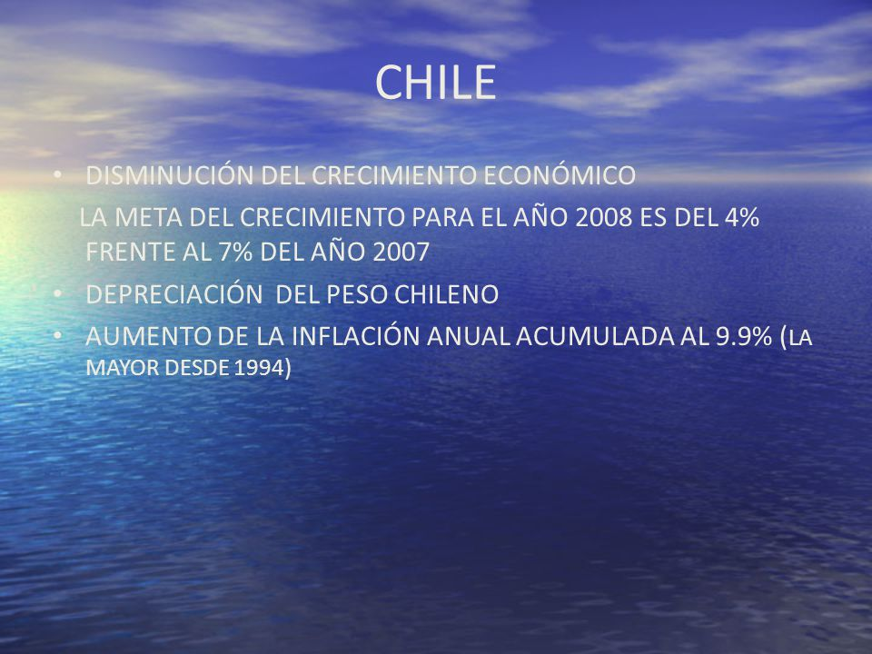 CHILE DISMINUCIÓN DEL CRECIMIENTO ECONÓMICO