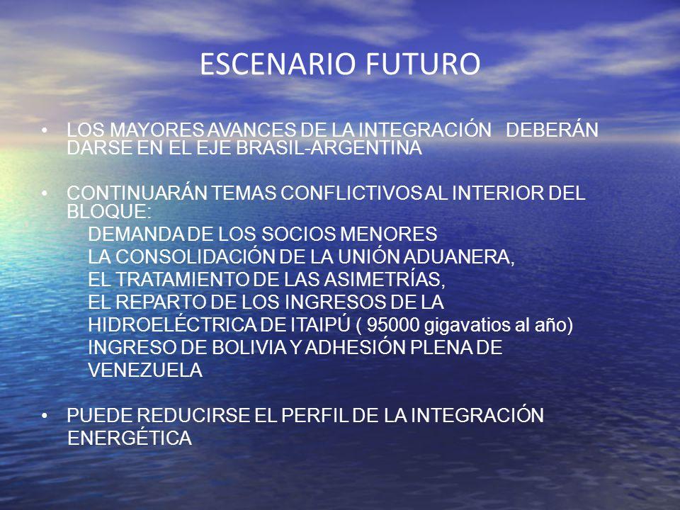 ESCENARIO FUTURO LOS MAYORES AVANCES DE LA INTEGRACIÓN DEBERÁN DARSE EN EL EJE BRASIL-ARGENTINA.