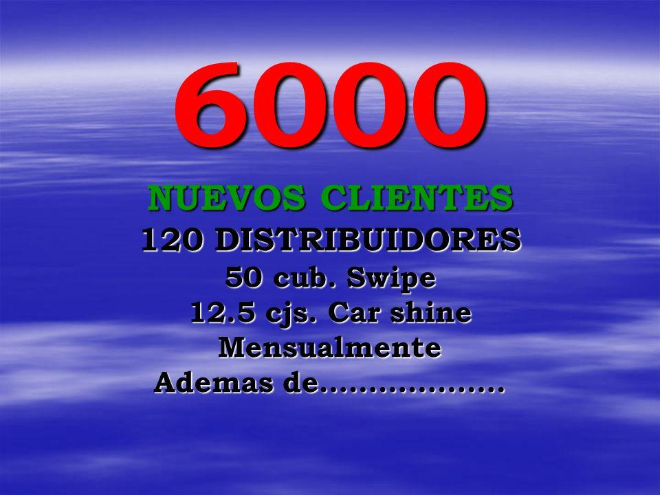 6000 NUEVOS CLIENTES 120 DISTRIBUIDORES 50 cub. Swipe