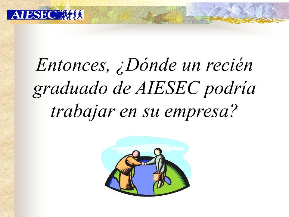 Entonces, ¿Dónde un recién graduado de AIESEC podría trabajar en su empresa