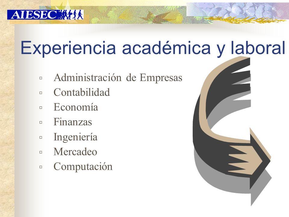 Experiencia académica y laboral