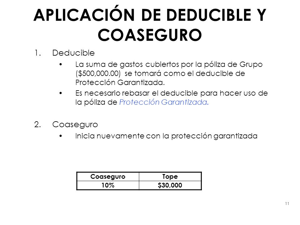 APLICACIÓN DE DEDUCIBLE Y COASEGURO