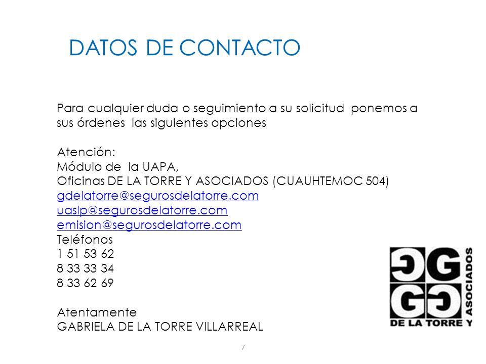 DATOS DE CONTACTOPara cualquier duda o seguimiento a su solicitud ponemos a. sus órdenes las siguientes opciones.