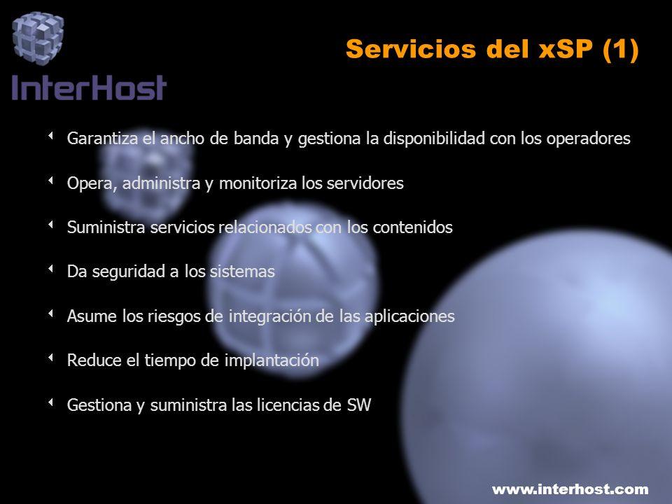 Servicios del xSP (1)Garantiza el ancho de banda y gestiona la disponibilidad con los operadores. Opera, administra y monitoriza los servidores.
