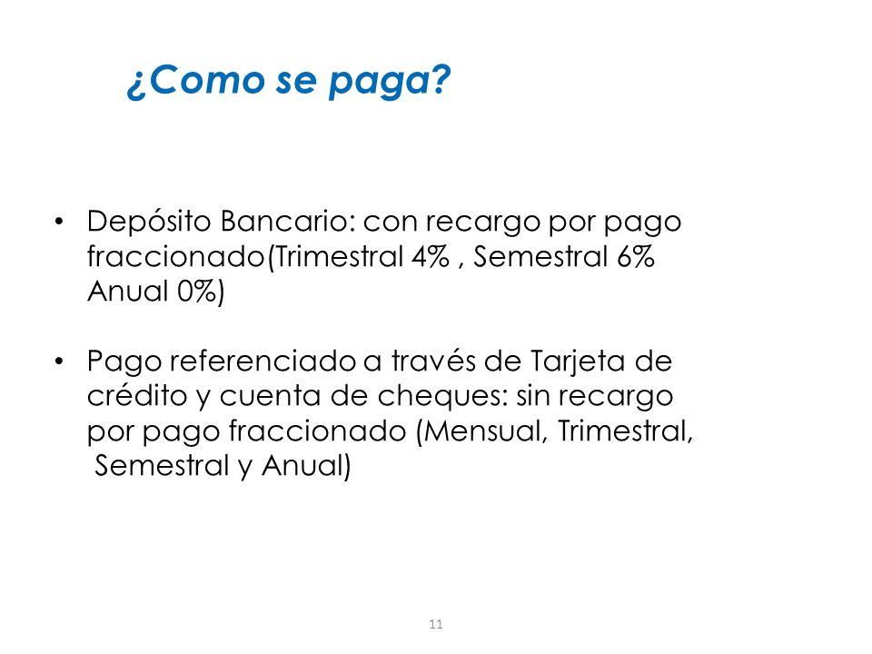 ¿Como se paga Depósito Bancario: con recargo por pago