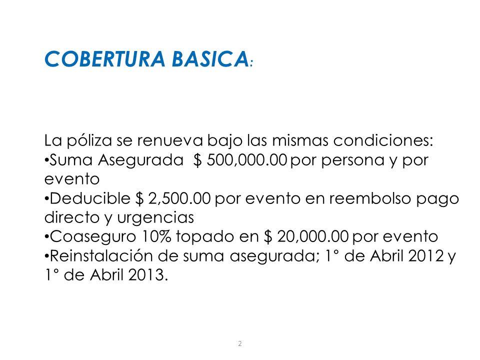 COBERTURA BASICA: La póliza se renueva bajo las mismas condiciones: