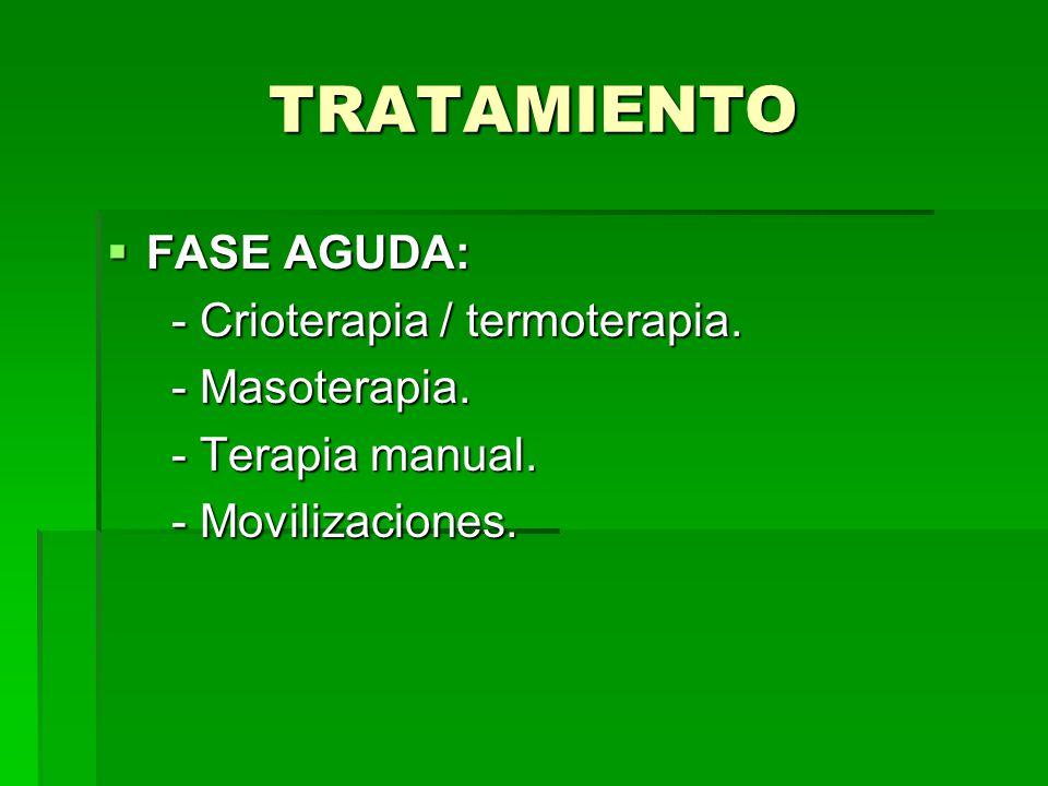 TRATAMIENTO FASE AGUDA: - Crioterapia / termoterapia. - Masoterapia.