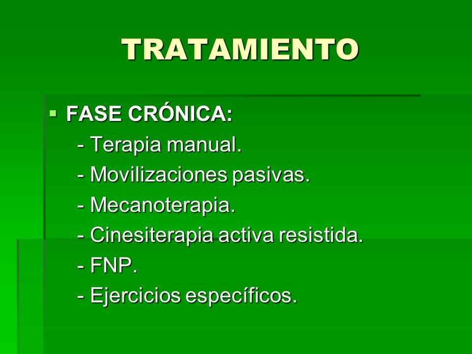 TRATAMIENTO FASE CRÓNICA: - Terapia manual. - Movilizaciones pasivas.