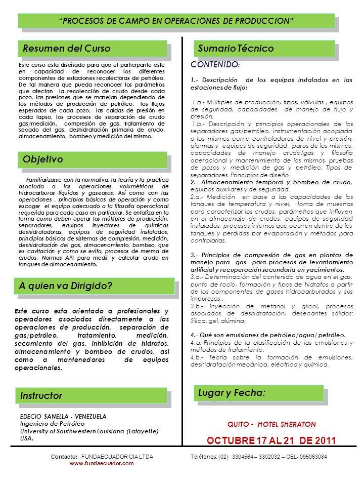 PROCESOS DE CAMPO EN OPERACIONES DE PRODUCCION