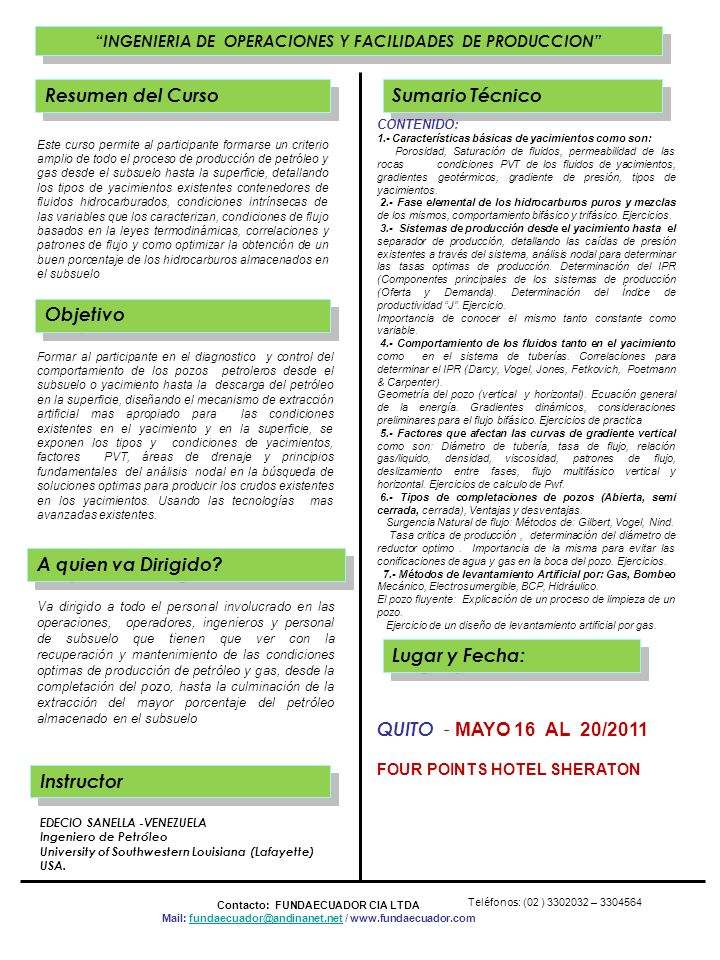 Resumen del Curso Sumario Técnico QUITO - MAYO 16 AL 20/2011 Objetivo